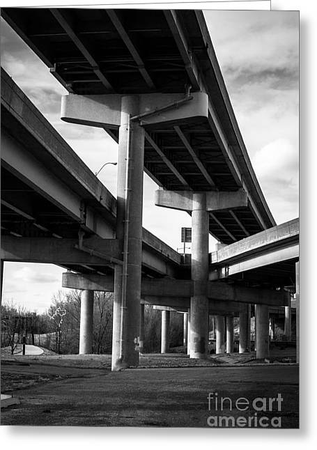 Overpasses In Bw Greeting Card by Imagery by Charly