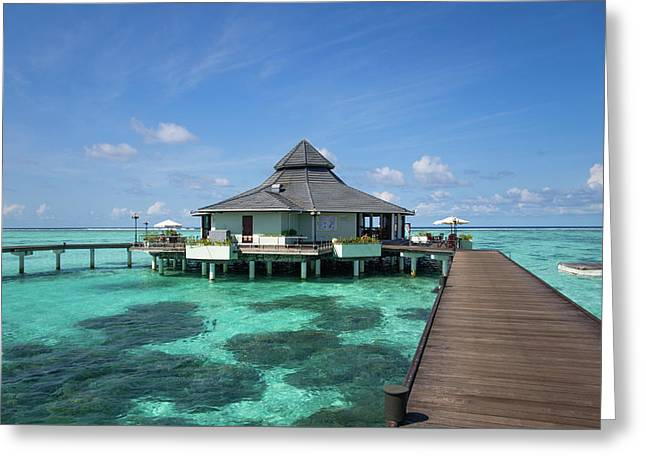 Overwater Restaurant At Maldivian Resort Greeting Card by Jenny Rainbow