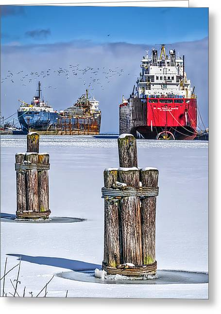 Owen Sound Winter Harbour Study #4 Greeting Card