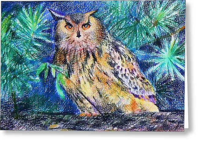 owl Greeting Card by Anastasia Michaels