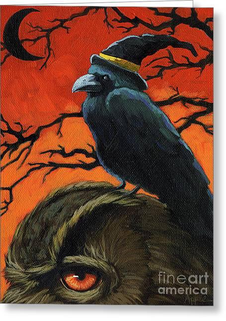 Owl And Crow Halloween Greeting Card