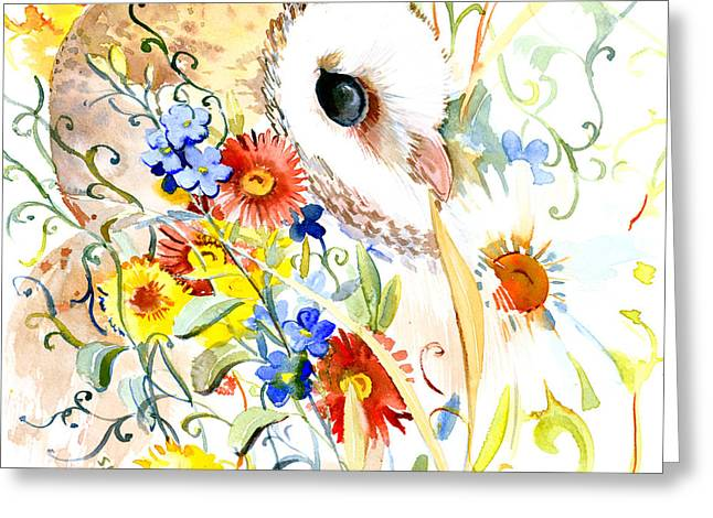 Owl And Flowers Greeting Card