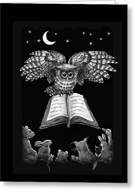 Owl And Friends Blackwhite Greeting Card