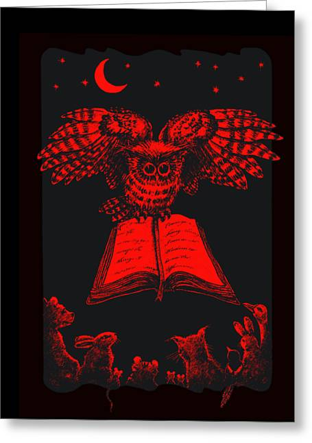 Owl And Friends Redblack Greeting Card