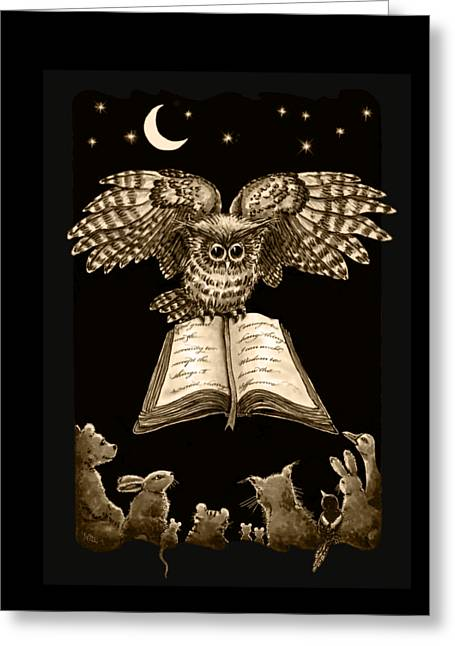 Owl And Friends Sepia Greeting Card