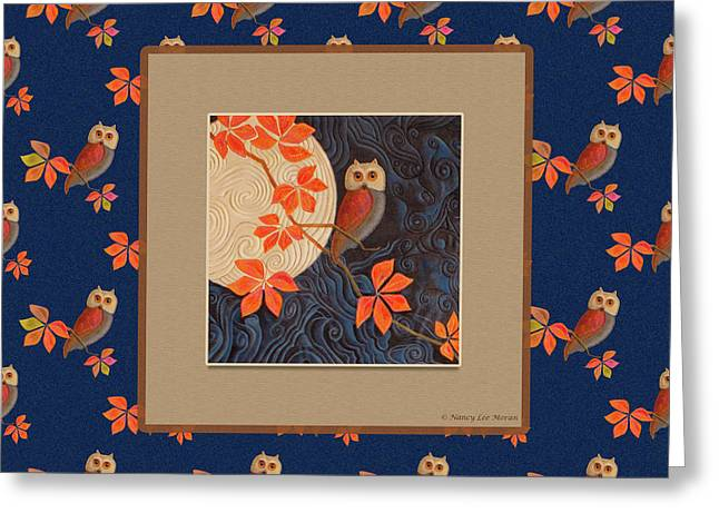 Owl And Moon On Midnight Blue Greeting Card