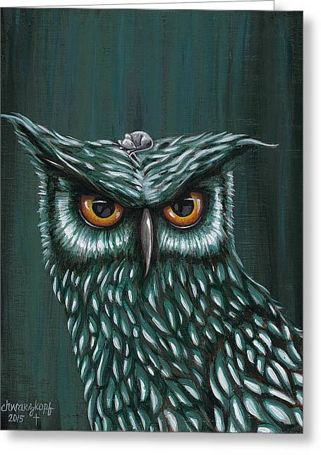 Owl And Mouse Greeting Card