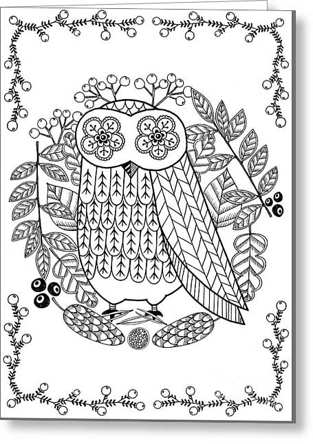 Owl Greeting Card by Anne Vasko