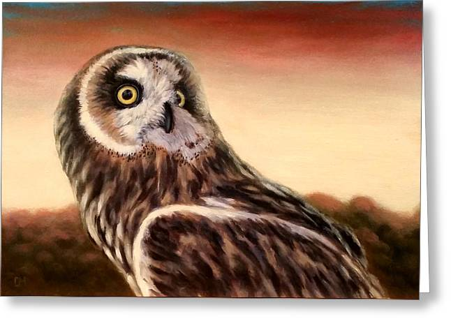 Owl At Sunset Greeting Card