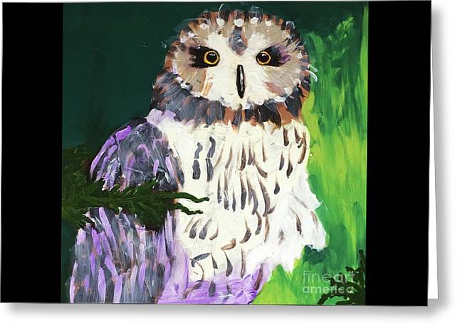 Greeting Card featuring the painting Owl Behind A Tree by Donald J Ryker III