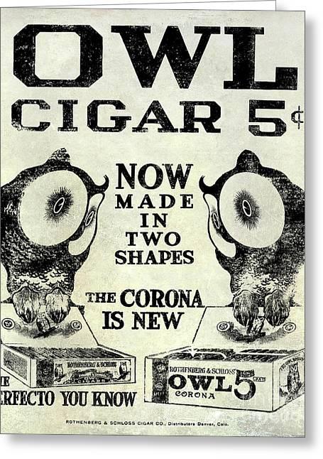 Owl Cigar Advertisement 1909 Greeting Card by Jon Neidert