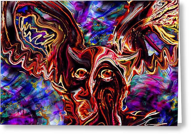 Owl Colors Wild. Greeting Card by Abstract Angel Artist Stephen K