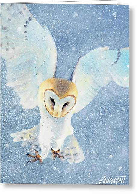 Owl Detail Greeting Card by Tim Dangaran