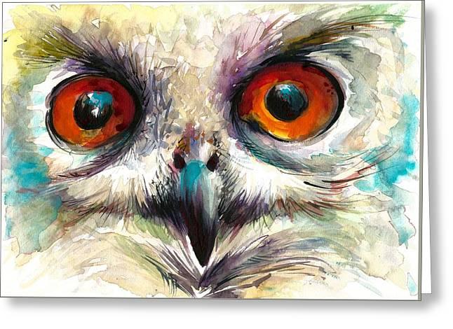 Owl Eyes - Detail Greeting Card by Tiberiu Soos