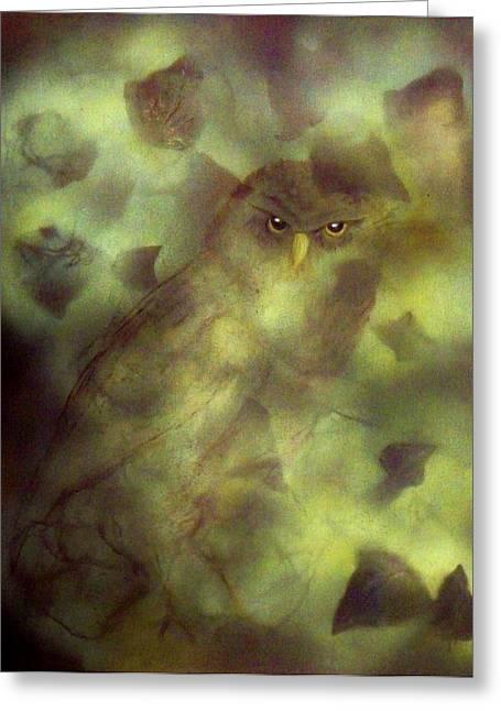 Owl Eyes Greeting Card by Lynda McDonald