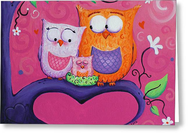 Pink Flower Branch Paintings Greeting Cards - Owl Family Greeting Card by Jennifer Alvarez