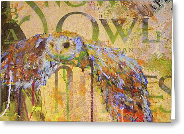 Owl In Flight Greeting Card by Lisa McKinney