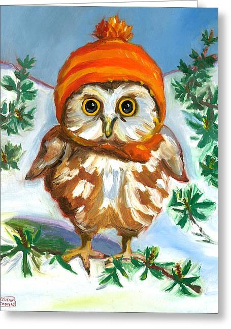 Owl In Orange Hat Greeting Card