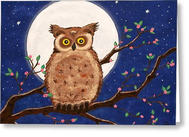 Owl In The Night Greeting Card