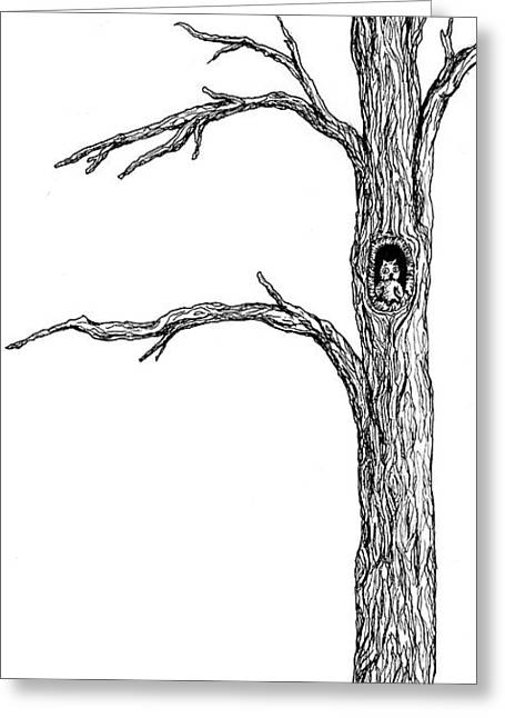 Owl Ink Tree Greeting Card