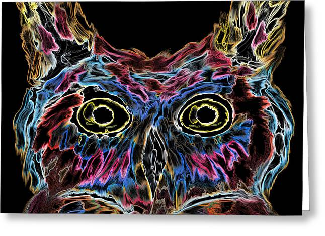 Owl Is Well Tonight Greeting Card by Abstract Angel Artist Stephen K