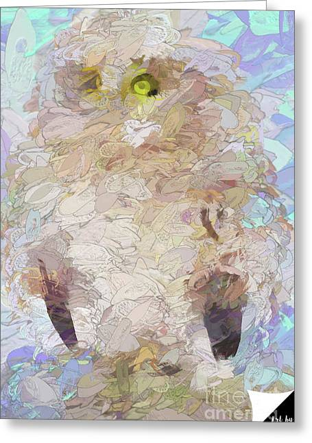 Greeting Card featuring the digital art OWL by Jim  Hatch
