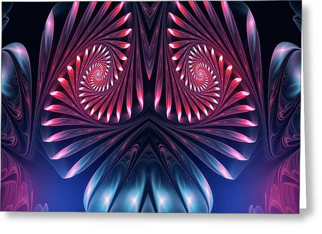 Greeting Card featuring the digital art Owl by Jutta Maria Pusl