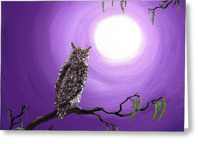 Owl On Mossy Branch Greeting Card by Laura Iverson
