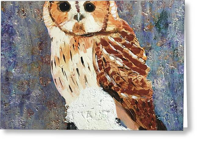 Greeting Card featuring the painting Owl On Snow by Donald J Ryker III