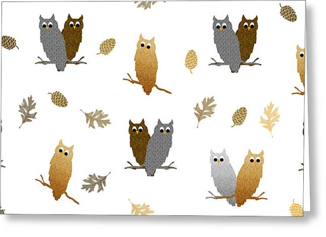 Owl Pattern Greeting Card by Christina Rollo