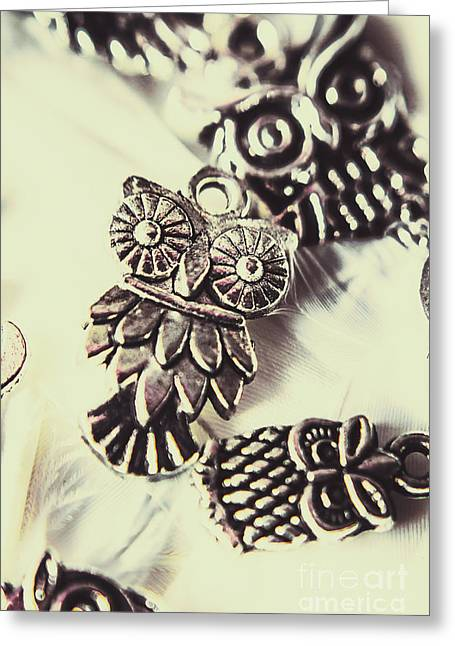 Owl Pendants. Charms Of Wisdom Greeting Card by Jorgo Photography - Wall Art Gallery