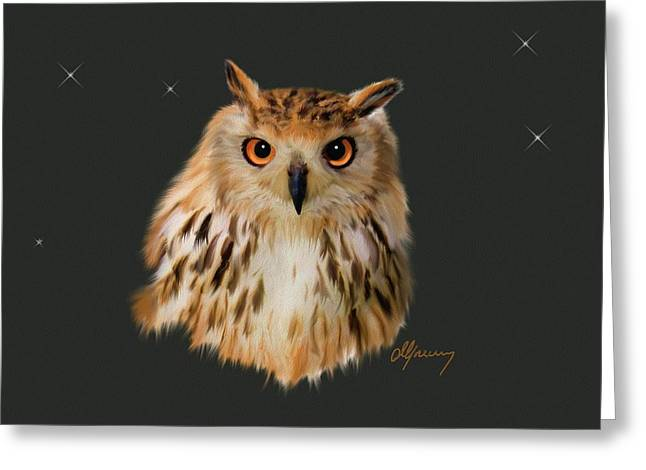 Owl Portrait  Greeting Card by Michael Greenaway