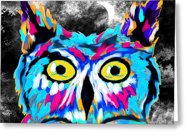 Owl Under The Moon Greeting Card by Abstract Angel Artist Stephen K