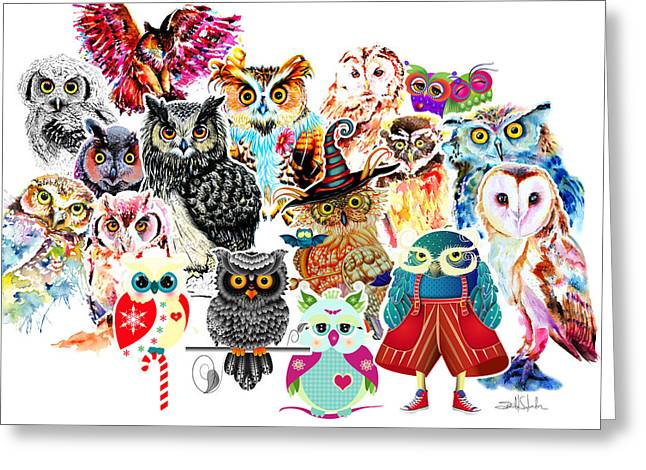 Owls Collage By Isabel Salvador Greeting Card by Isabel Salvador