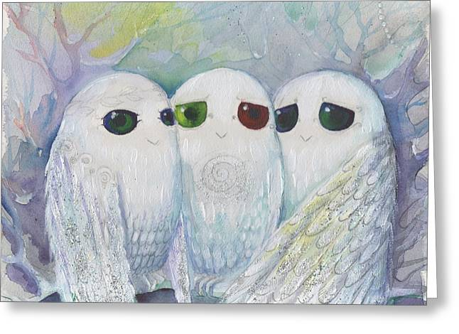 Owls From Dream Greeting Card