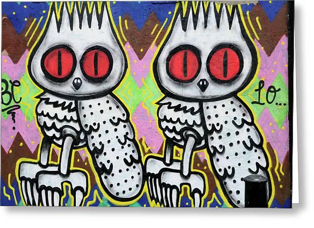 Owls Graffiti  Greeting Card by Liz Pinchen