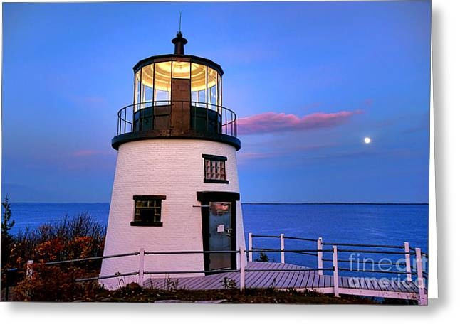 Owls Head Light Evening Greeting Card by Olivier Le Queinec