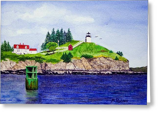Owls Head Lighthouse Greeting Card by Mike Robles