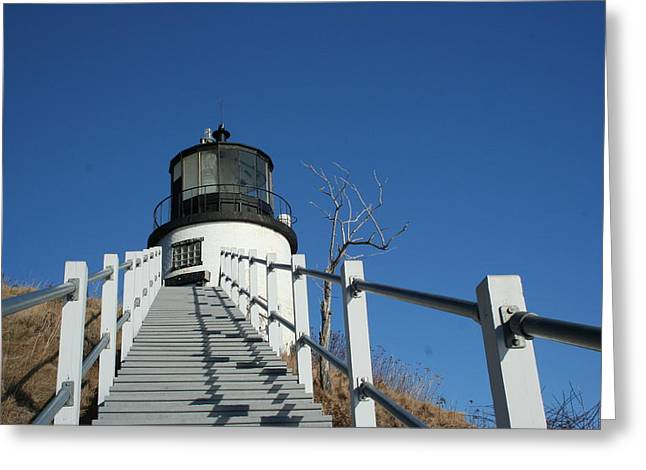 Owls Head Lighthouse Winter Greeting Card