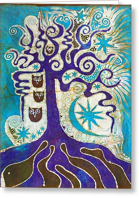 Owls In A Summer Tree Greeting Card by Victoria Dresdner