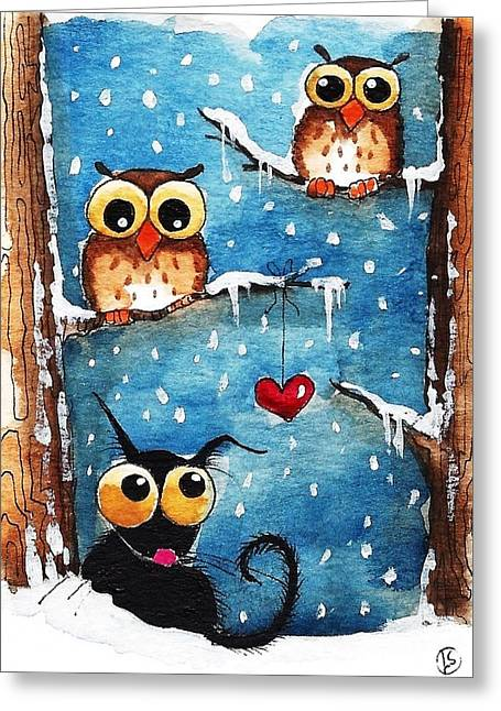 Owls In Love Greeting Card by Lucia Stewart