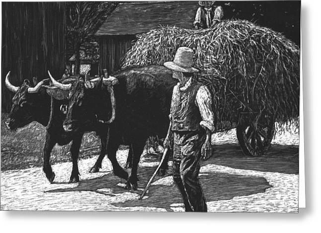 Ox-driven Haycart Greeting Card by Robert Goudreau