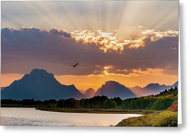Oxbow At Sunset Greeting Card by Mary Hone