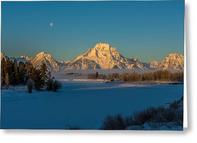 Oxbow Bend In Late Winter Greeting Card by Yeates Photography