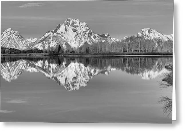 Oxbow Bend Panorama Black And White Greeting Card by Adam Jewell