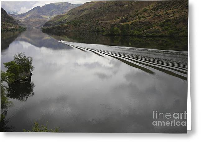 Oxbow Reservoir Wake Greeting Card by Idaho Scenic Images Linda Lantzy