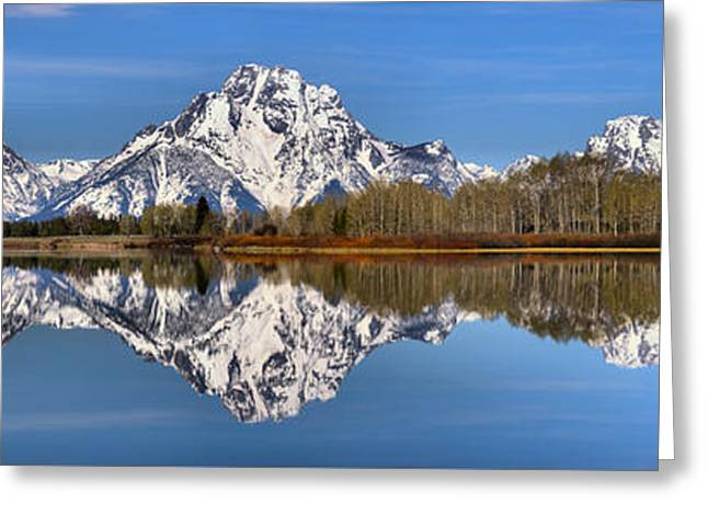 Oxbow Snake River Reflections Greeting Card by Adam Jewell