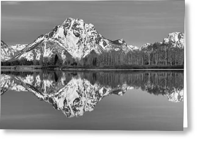 Oxbow Snake River Reflections Black And White Greeting Card by Adam Jewell