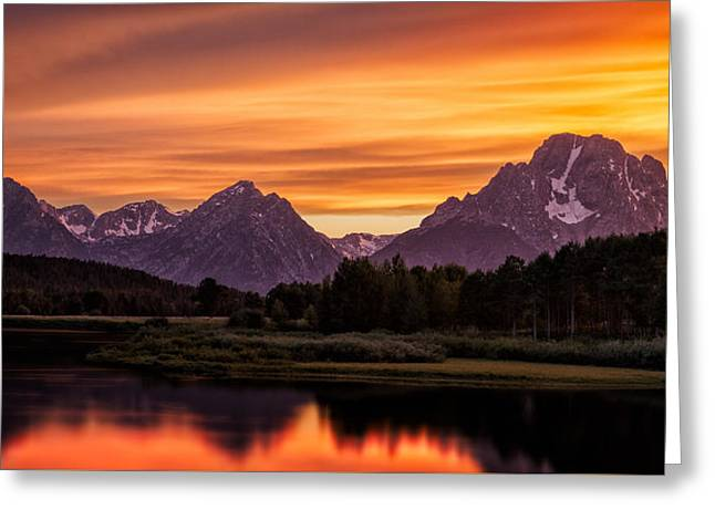 Oxbow Sunset Greeting Card by Doug Oglesby