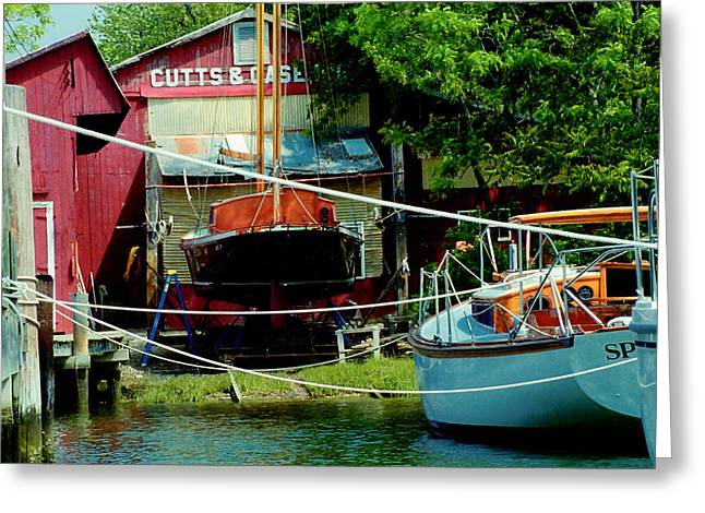 Oxford Boat Works Greeting Card by Jim Proctor